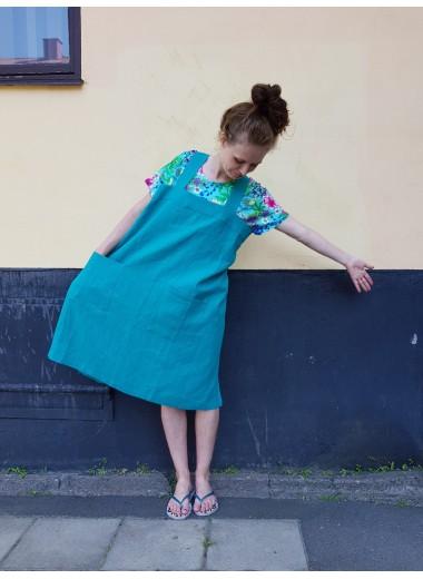 Förklädesklänning, petrol linne