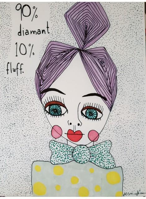 Print: 90% diamant 10% fluff