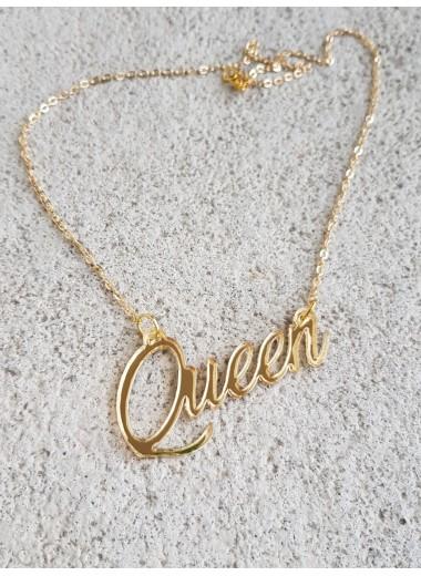Queen, halsband i guldakryl