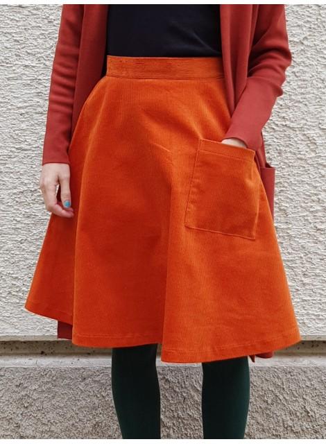 Orange manchesterkjol