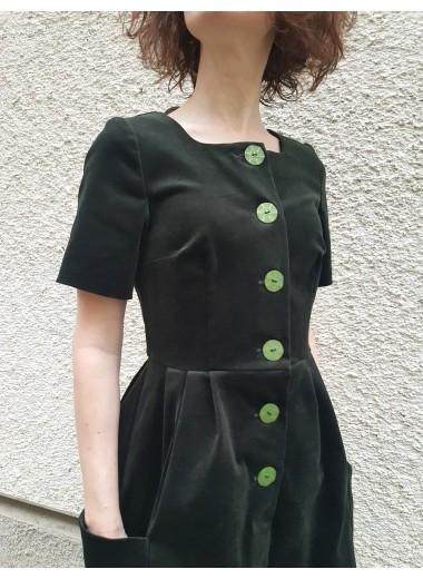 Sammetsklänning, grön