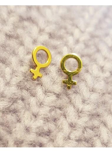 Feminist mini. Örhängen guld