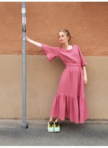 Volangklänning rosa guld