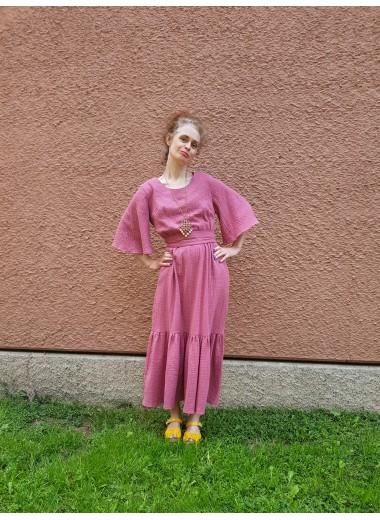 Volangklänning rosa guld. S-XXL