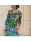 Fågel, trikåklänning trekvartsärm. S-XL