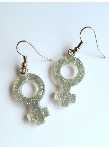 Feministörhängen, silverglitter