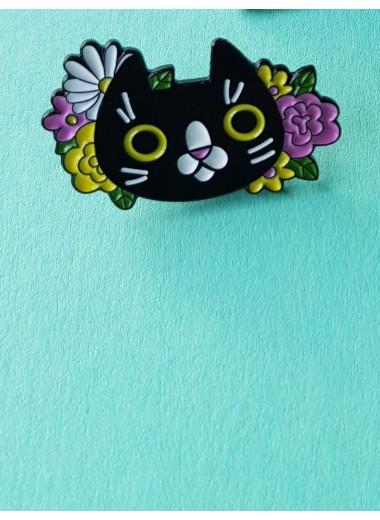 Pin. Blomster katt