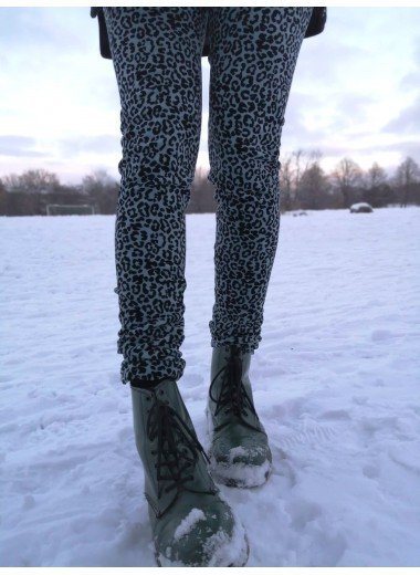Leopard velourleggings, blågrå