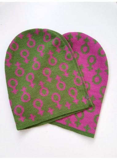 Feminist ullmössa. grön/rosa