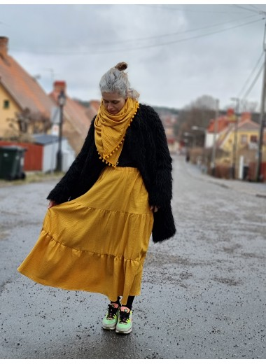 Volangkjol i gul/guld muslin