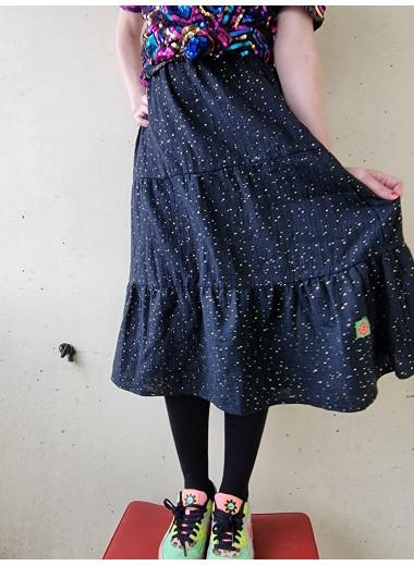 Kjol i svart/guld muslin