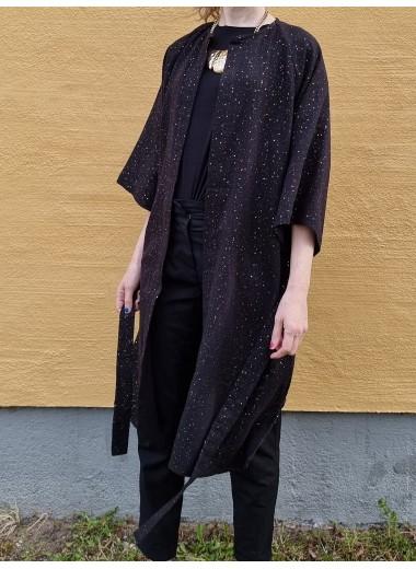 Svart/guld kimono i muslin, S-3XL