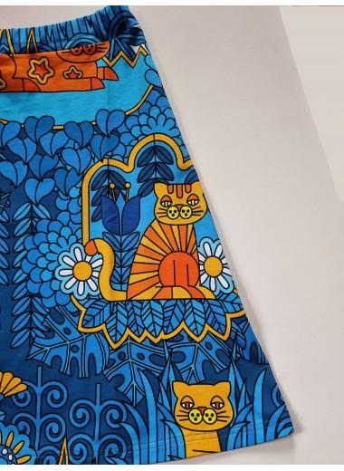 Blå katt. Trikåkjol. M-XXXL
