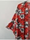Lång kimono Röd/svart/vit