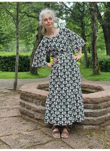 Volangklänning Grönblommig