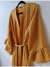 Lång kimono i gult och guld