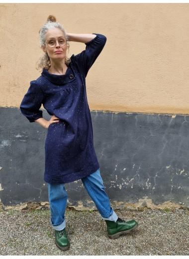 Prästkrageklänning Mörkblå muslin
