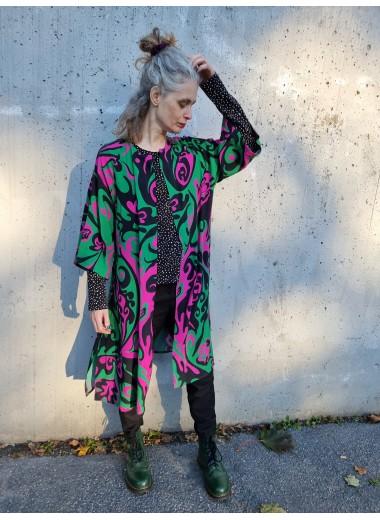Kimono Svart/grön/rosa