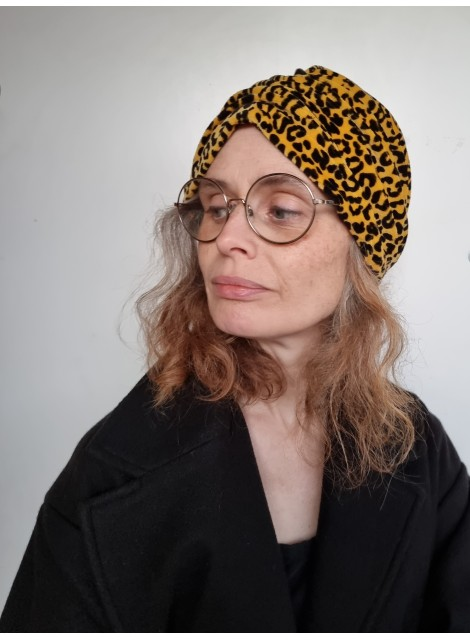 Turban, leopard velour