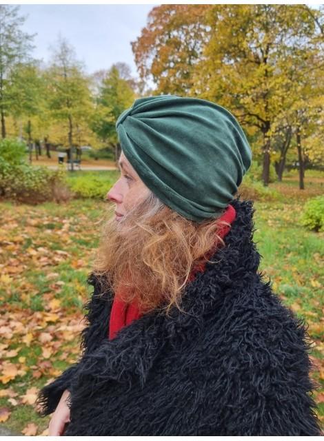Turban i grön velour
